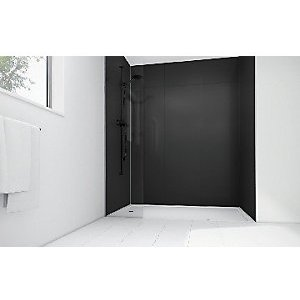 Mermaid High Gloss Black Laminate 3 Sided Shower Panel Kit 900mm X 900mm