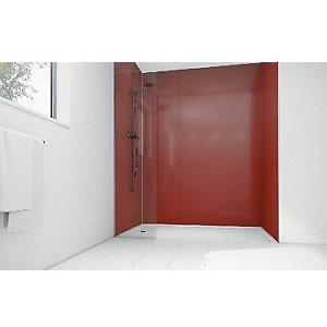 Mermaid High Gloss Rouge Laminate 3 Sided Shower Panel Kit 1200mm X 900mm