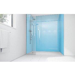 Mermaid Sky Blue Acrylic 3 Sided Shower Panel Kit 1700mm X 900mm