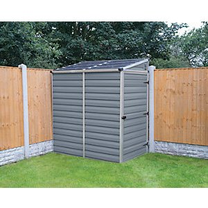 Palram 4 X 6 Ft Skylight Plastic Pent Shed With Base Grey