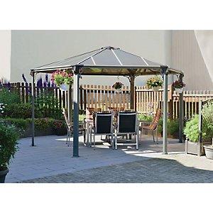 Palram Monaco Hexagonal Polycarbonate Garden Gazebo Grey - 4380 X 4380 Mm