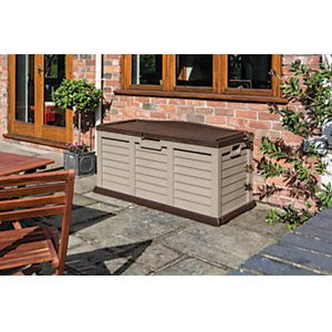 Rowlinson Plastic Garden Storage Box Bench - Mocha 1420mm X 650mm X 270mm