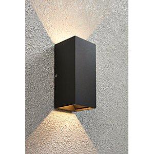 Saxby Volta Adjustable Matt Black & Clear Glass Twin Wall Light