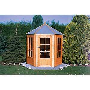 Shire 7 X 6 Ft Gazebo Style Apex Dip Treated Six Sided Summerhouse