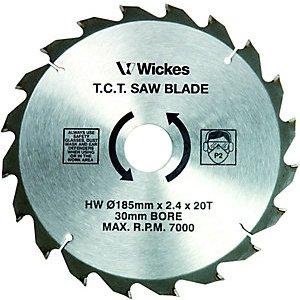 Wickes 20 Teeth Medium Cut Circular Saw Blade - 185 X 30mm