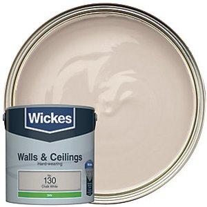Wickes Chalk White - No. 130 Vinyl Silk Emulsion Paint - 2.5l