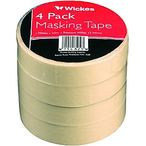 Wickes Multi-surface Cream Masking Tape - 24mm X 50m - Pack Of 4