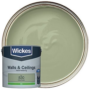 Wickes Olive Green - No. 830 Vinyl Silk Emulsion Paint - 2.5l