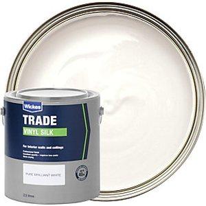 Wickes Trade Vinyl Silk Emulsion Paint - Pure Brilliant White 2.5l