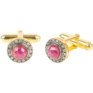 Latelita Diamond Gemstone Cufflink Ruby Gold 27711375573097
