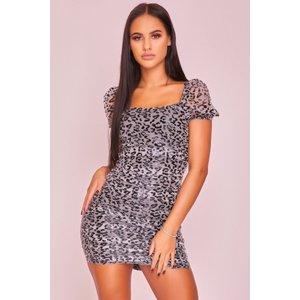 Black & Grey Leopard Print Mini Dress N- Harmony - 6 Black Katch Me