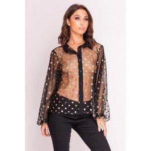 Black Sheer Shirt With Metallic Gold Spots - 12 Black Katch Me