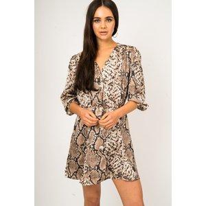Brown Button Front Snake Print Dress - 10 Brown Katch Me
