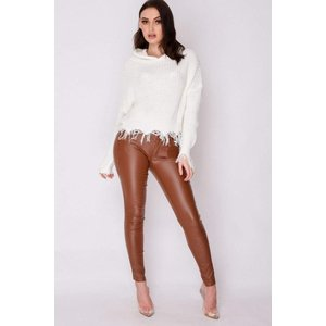 Brown Faux Leather Trousers - 14 Brown Katch Me