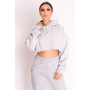 Grey Cropped Hoodie - One Size Grey Katch Me