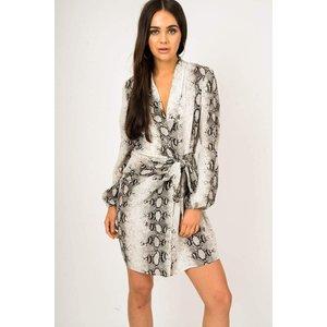 Grey Ruched Front Snake Print Wrap Dress - 12 Grey Katch Me