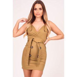 Khaki Double Breasted Utility Dress - 10 Katch Me