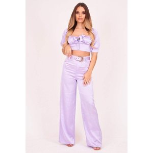Lilac Wide Leg Satin Trousers With Western Belt - 6 Lilac Katch Me