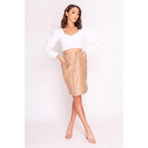 Nude Faux Leather Zip Front Midi Skirt - 6 Nude Katch Me
