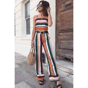 Orange Stripe Crop & Trousers Co-ord Set - 12 Orange Katch Me