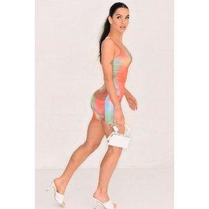 Orange Tie Dye Scoop Neck Mini Dress- Valentina - L (10/12) Tie Dye Katch Me