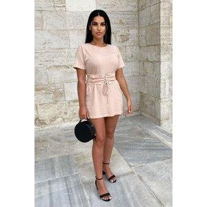 Pink Belted T-shirt Dress - Mckinley - 12 Pink Katch Me