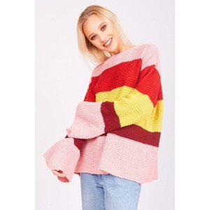 Pink Over Sized Striped Rainbow Jumper - S (8) Pink Katch Me