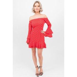 Red Polka Dot Bardot Flare Dress - 12 Red Katch Me