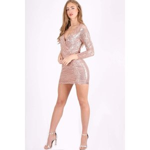 Rose Gold Long Sleeve Shimmer Mini Dress - 6 Gold Katch Me