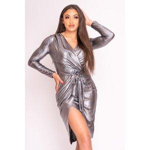 Silver Metallic Tie Waist Wrap Dress - 8 Silver Katch Me