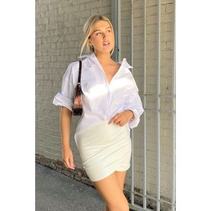 White Faux Leather Ruched Mini Skirt- Ivette - 12 White Katch Me