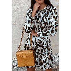 White Split Front Leopard Print Dress - 6 White Katch Me
