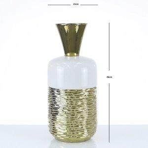 Cimc 46cm Fluted Vase Gold And White / White Vs257 L0 Gdwh, White