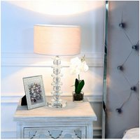 Cimc 51.5cm Crystal Glass Table Lamp With White Velvet Shade Eu Gs264 00 Cyl Wh