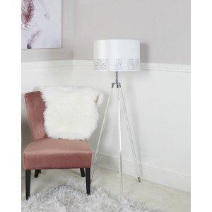 Cimc Acrylic Tripod Floor Lamp With White Shade / Clear Eu Bt637 L0 Stn Wh, Clear