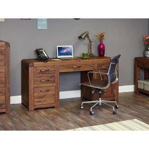 Baumhaus Shiro Walnut Twin Pedestal Computer Desk Bhs Cdr06b