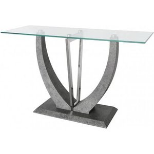 Cimc Direct Caspian Toughened Glass Chrome And Stone Effect V Shaped Console Table / Stainless Steel Wf155 00 Gy, Stainless Steel