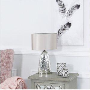 Cimc Chrome Glass Table Lamp With Blush Pink Shade / Mirror Eu Gs255 00 Ovl Pk, Mirror