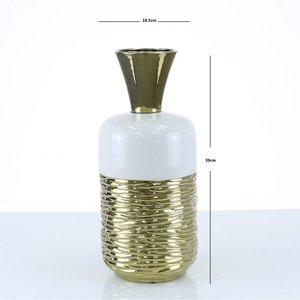 Cimc 39cm Fluted Vase Gold And White / White Vs257 M0 Gdwh, White
