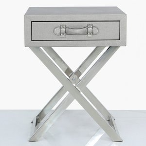 Cimc Faux Litchi Grain Leather 2 Drawer Console Table Pewter Lf067 00 Pw