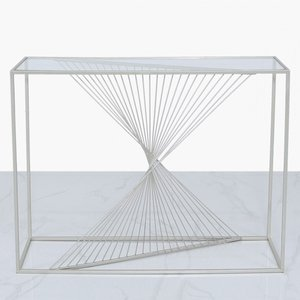 Cimc Luna Silver Metal & Clear Glass Console Table Clear Glass Top Mf229 00 Gls Sv