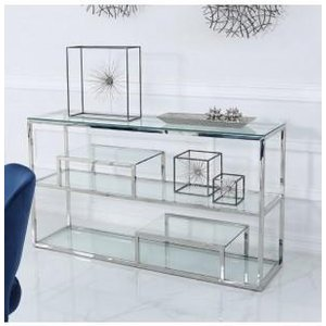 Cimc Direct Bailey Stainless Steel 3 Tier Console Table With Glass Shelves Mf193 00 Gls Cl