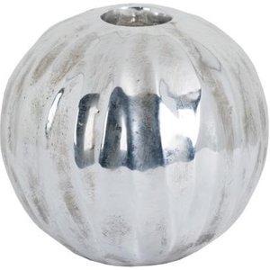 Hill Large Spherical Detailed Metallic Ceramic Tealight Holder Hil 19400