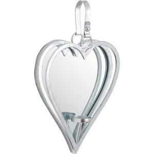 Hill Small Antique Silver Mirrored Heart Candle Holder Hil 19724