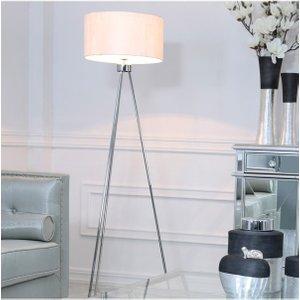 Cimc Large 159cm Chrome Tripod Floor Lamp With White Cotton Shade Eu Bt640 L0 Cyl Wh