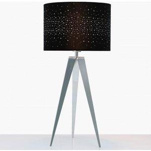 Cimc Medium Chrome Hollywood Tripod Table Lamp With Black Velvet Sparkle Shade Eu Bt615 M0 Dia Bl