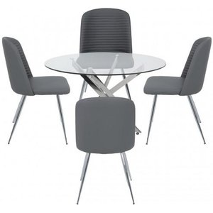 Cimc Nyla 100cm Rect Dining Table And 4 Grey Zara Chairs / Chrome Dining Set 25 Gy, Chrome