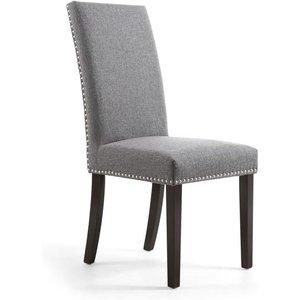 Shankar Randall Stud Detail Linen Effect Steel Grey Dining Chair With Brown Legs (2pk) 006 05 06 02 01