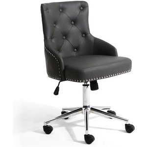 Shankar Rocco Leather Effect Graphite Grey Office Chair 096 14 01 10 01