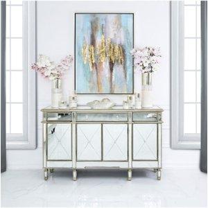 Cimc Direct Versailles Gold Venetian Mirrored 3 Drawer 4 Door Sideboard Mrf183 00 Gd